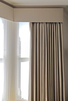 grey curtains with white voile and pelmit - Window Pelmets, Corner Curtains, Ceiling Curtains, Bay Window Curtains, Home Curtains, Grey Curtains, Curtains Living, Modern Curtains, Curtains With Blinds