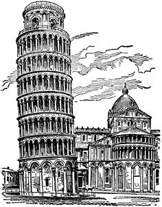 Leaning Tower of Pisa Architecture Concept Drawings, Architecture Sketchbook, Architecture Art, Pencil Art Drawings, Art Drawings Sketches, Art Sketches, Cityscape Drawing, City Drawing, Cathedral Architecture