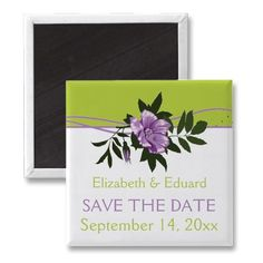 African violet purple wild rose tender shoots green floral wedding Save the Date magnet by weddings_