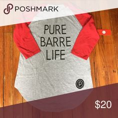 PURE BARRE MED 3/4 SLEEVE TSHIRT RED GRAY W NEW Medium t shirt three quarter red sleeve grey body never worn tags still on TSHIRT reads Pure Barre Life with P logo Pure Barre Tops Tees - Long Sleeve