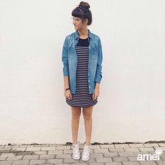 Pedida da semana: listras  #lojaamei #etiquetaamei #vestido #listras #jeans