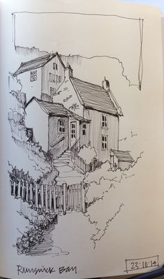 Rosamaria G Frangini | Architecture | Art Drawings | Line sketch of Runswick Bay, North Yorkshire