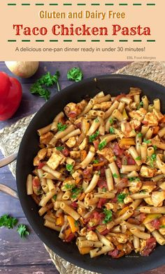 Gluten and Dairy Free Taco Chicken Pasta recipes dairy free Gluten and Dairy Free Taco Chicken Pasta - EBL Food Allergies Egg Free Recipes, Allergy Free Recipes, Healthy Recipes, Chicken Recipes Dairy Free, Dairy Free Hamburger Recipes, Dairy Free Italian Recipes, Crockpot Dairy Free, Dairy Free Recipes For Kids, No Dairy Recipes