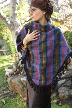 Lovely & Warm Poncho 60s 70s Plaid Fringe Wool by LaDeaDeiSogni, $44.00
