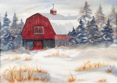 Frosty Friday - the red just glowed against the hoar frost and snow. www.gaylehalliwell.com Wave Studio, Play Clay, My Works, Frost, Glow, Barn, Friday, Waves, Tours
