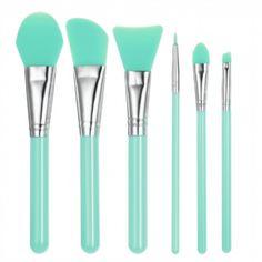 6pcs Silicone Makeup Brush Set Facial Mask Foundation Brushes Cosmetic Eyeshadow Eyebrow Brush Kit With Plastic Handle Green