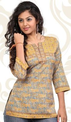 India Tunic Top / Kurti Womens Printed Blouse Indian Apparel (Yellow, XS) Maple Clothing. $22.99