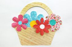 Basket of Flowers craft; Mother's Day Crafts Browse through craft ideas for making something special for mom on Mother's day. Make a greeting card, a bouquet of paper flowers, a charming picture frame, or any of these lovely handmade gifts. Folded Paper Flowers, Paper Flowers Craft, Flower Crafts, Paper Crafts, Fabric Flowers, Spring Crafts For Kids, Mothers Day Crafts For Kids, Valentine Day Crafts, Craft Stick Crafts