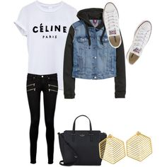 Untitled #5 by maddieje on Polyvore featuring polyvore, fashion, style, H&M, Paige Denim, Converse, Kate Spade and Kasturjewels