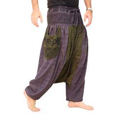 Parkour Harem Pants Men - Fabric: Aladdin Pants made of 100% Cotton Outer Leg: 41 (104cm) Inner Crotch: 31.5 (80cm) Waist Style: Elastic, Front tie *Around the Waist elastic from 30 up to 50 max (76cm-127cm Fit for Size: S-M-L-XL