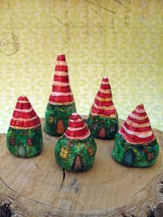 Christmas Elf Houses. The elves sneak out on Christmas eve to stuff your stocking! Great for rough rocks.