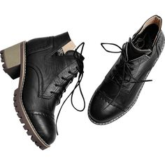 Black 36 Curve Stitching Lace Up Boots ($21) ❤ liked on Polyvore featuring shoes, boots, lace front boots, laced up boots, black laced boots, kohl shoes and stitch shoes