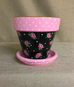 Excited to share this item from my #etsy shop: Rose Flower Pot with Saucer, Irish Rose Planter, Pink and Black Roses Terracotta, Roses, Irish Rose, Kitchen Flower Pot, Herb planter