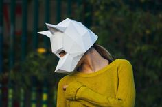 Paper Dog Mask Papercraft Template Halloween Mask by Paperpetshop