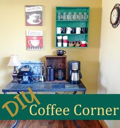 DIY Coffee Corner. Display all your adorable coffee cups in your very own coffee station!