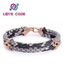 Popular cool python leather stainless steel men bracelets consists of high-quality leather that was chosen for its luster and strength.It's adjustable and durable, not too stiff but appears to be made well. You can wear popular cool python leather stainless steel men bracelets everyday and it looks great. It is very solid construction and it