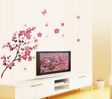 Wholesale Peach Blossom Butterfly Wall Stickers DIY Vinyl Art...