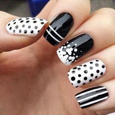 Black and White Nails with Lotsa Dots and Crazy Stripes.