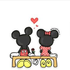 Mickey and Minnie 🖤♥️ Disney Mickey Mouse, Mickey Mouse Kunst, Mickey Mouse Drawings, Mickey Mouse Wallpaper, Cute Disney Drawings, Disney Phone Wallpaper, Wallpaper Iphone Cute, Minnie Mouse, Disney Kunst