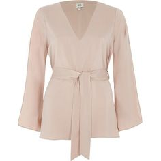 River Island Light pink V neck tie waist blouse ($70) ❤ liked on Polyvore featuring tops, blouses, pink, women, v neck long sleeve top, v neck tops, loose long sleeve tops, loose tops and light pink top