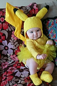 *Inspiration Only* Handmade Baby Pikachu Costume! #crochet #tutu #pikachu…