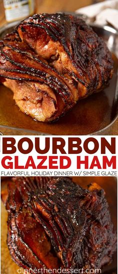 Bourbon Glazed Ham Bourbon Glazed Ham is an easy, flavorful main dish for the holidays. Simple glaze of bourbon, brown sugar, and orange juice, ready in just a few hours. Bourbon Recipes, Ham Recipes, Dinner Recipes, Cooking Recipes, Dinner Ideas, Bourbon Ham Recipe, Rabbit Recipes, Recipies, Smoker Recipes