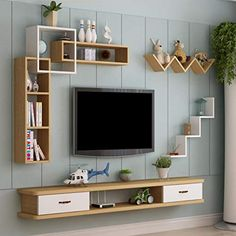 Wall-Mounted TV Cabinet Wall Shelf with Drawers Floating Shelf TV Multimedia Storage Shelf Multifunctional Display Shelf Storage Cabinet (Color : F, Size : Bedroom Furniture Design, Home Room Design, Home Decor Shelves, Tv Unit Furniture Design, Wall Shelf With Drawer, Tv Room Design, Wall Mounted Tv Cabinet, Living Room Design Modern, Living Room Designs