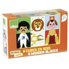 6 cubes en bois à retourner et associer pour créer des animaux ou des personnages rigolos. Un chien avec un corps d'astronaute, une princesse sur un corps de footballeur, de drôles de personnages qui amuseront les tout-petits.    Design: Ingela Arrhénius.   13,50 € http://www.lafolleadresse.com/jouets/5610-6-cubes-en-bois-ingela-arrhenius-vilac.html