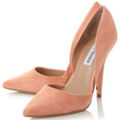 Steve Madden Varcityy Cut Out Upper Court Shoes , Orange Suede ($98) ❤ liked on Polyvore featuring shoes, pumps, high heel stilettos, pointed-toe pumps, steve-madden shoes, orange pumps and stiletto pumps