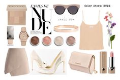 """""""Color Story: NUDE"""" by jakiishoes on Polyvore featuring Bobbi Brown Cosmetics, Terre Mère, Marc Jacobs, Burberry, Givenchy, Lana Jewelry, STELLA McCARTNEY, Raey, Chicwish and Heels"""