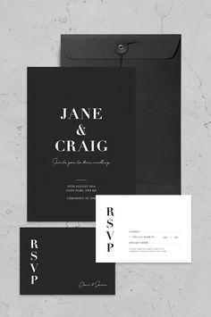 Classic Monochrome Invite Set By Nat\'s Paper Studio