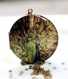 Bird Locket - Peacock