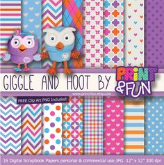 Giggle and Hoot Cute Owl Digital Paper Patterns Background blue pink purple orange chevron for party printables invitations scrapbooking Digital Scrapbook Paper, Digital Papers, Paper Patterns, Pattern Paper, Ben And Holly, Little Mermaid Parties, Cute Owl, Disney Cars, Party Printables