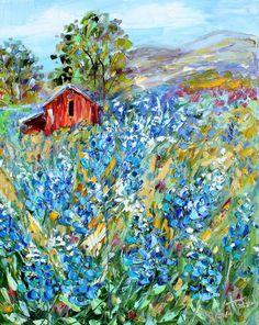 Original oil painting TEXAS BLUEBONNET LANDSCAPE by Karensfineart
