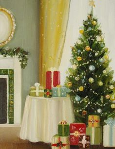 Christmas Morning Original Oil Painting by janethillstudio on Etsy
