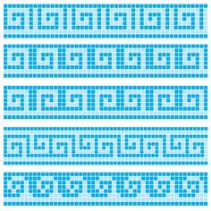 mäander: Old greek border mosaic designs Illustration Crochet Borders, Cross Stitch Borders, Crochet Diagram, Crochet Chart, Filet Crochet, Cross Stitch Designs, Crochet Stitches, Cross Stitch Patterns, Maori Patterns