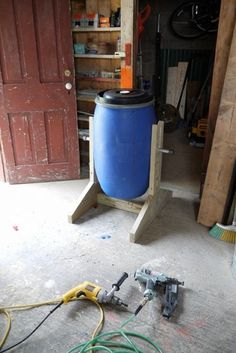 DIY Compost Tumbler Tutorial: Supplies -  40-gallon recycled food-grade bins   One 6-pack of 6″ Timberlok screws   1.25″ deck screws   Two T-shaped brackets   Six 1.5″ lags   3/4″ galvanized pipe   Two 3/4″ galvanized pipe caps   Pressure treated wood: One 2x10x4, One 2x4x4, One 2x6x4
