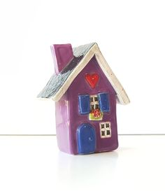 Little Purple Cottage   Little Clay House   Ceramic House   Whimsical House   Purple House   Clay Cottage   Little House by HeartHomes on Etsy