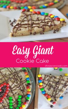 Learn how to make the best, chewy soft giant cookie cake. Chocolate chip cookie cake baked in a pizza pan and decorated with frosting and candy. Giant Cookie Cake, Chocolate Chip Cookie Cake, Giant Chocolate, Cake Mix Cookies, Giant Cookies, Homemade Chocolate, Easy Cookie Recipes, Baking Recipes, Snack Recipes