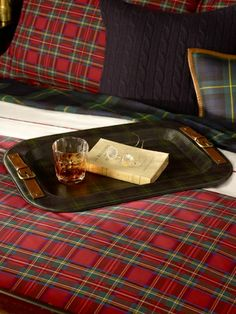 Bentham Plaid Leather Tray~Equestrian-inspired serving tray in heritage plaid-print leather -- the perfect complement to the well-appointed table.