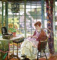 The Athenaeum - MILLER, Richard Emil American Impressionist (1875-1943)_Woman Sewing- circa 1927
