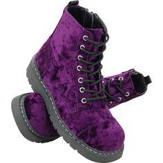 Purple Velvet Combat Boots ? T.U.K. Shoes | T.U.K. Shoes ($80) ❤ liked on Polyvore featuring shoes, boots, ankle booties, military boots, combat boots, combat booties, purple booties and purple combat boots