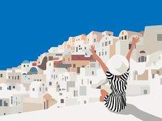 Greece designed by Prakhar Singh. Travel Illustration, Landscape Illustration, Digital Illustration, Graphic Illustration, Poster Prints, Art Prints, Beach Art, Cartoon Art, Travel Posters