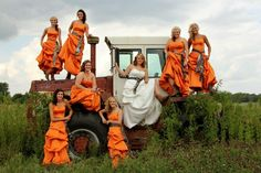 These dresses are horrendous ... Orange and camo overload...But the idea for the tractor picture is cute.
