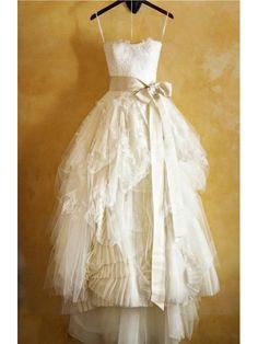 "Spaghetti+Strap+Bowknot+Sash+A-line+Wedding+Dress,bridal+gown,cheap+wedding+dress  Processing+time:+15-35+business+days+ Shipping+Time:+3-5+business+days  ""Fabric:Tulle+ Hemline/Train:Chapel+Train Back+Detail:+Zipper+ Sleeve+Length:Sleeveless Embellishments:,Ruching,Layers+of+Ruffles,+La..."