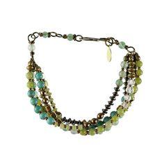 """""""Zigeuner"""" Armband (5 Strand - grün) - Pale Peridot Jade, Sea Green Jade, Landschafts-Jaspis, Messing, Hämatit, Antique Brass"""