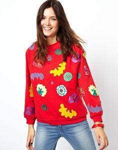 Image 1 ofASOS Oversized Sweatshirt with Embroidered Badges