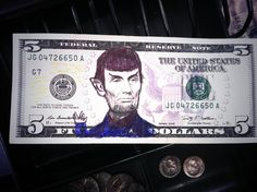 """So I was counting up the register at work today and found Spock drawn on a $5 bill #livelongandprosper"""
