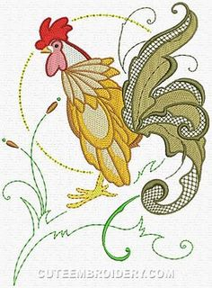 Free Embroidery Designs, Cute Embroidery Designs Embroidery Transfers, Machine Embroidery Patterns, Cute Embroidery, Embroidery Designs, Bird Illustration, Janome, Couture, Fiber Art, Coloring Books
