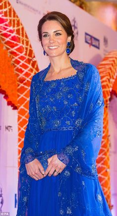 Kate dazzled in a beaded cobalt blue gown after sticking with one of her favourite designers, Jenny Packham, but the outfit was especially beaded in India in honour of their royal tour to the country and had an exquisite matching cape // India 2016